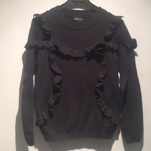 Topshop Black Ruffle Sweater Size 4